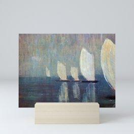 Sailboats on Mirrored Glass Seas nautical landscape by Mikalojus Konstantinas Ciurlionis Mini Art Print