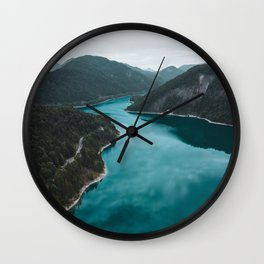 Mountain Lake Print, Sylvenstein Germany, Alps, Nature Photography, Landscape Poster, Wall Art Wall Clock