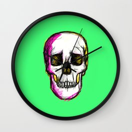Pop Skull - green Wall Clock