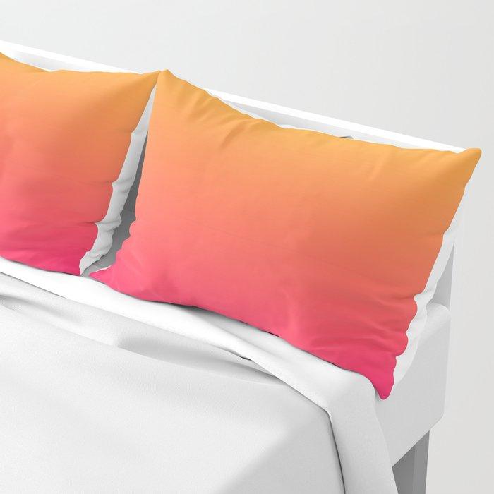 Hot Pink / Golden Heart Gradient Colors Pillow Sham