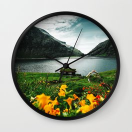 cottage in saksun faroe islands Wall Clock