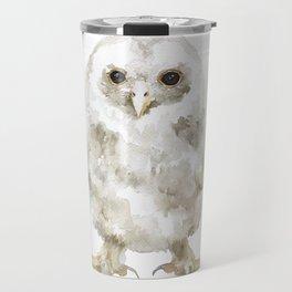 Baby Tawny Owl Watercolor Travel Mug