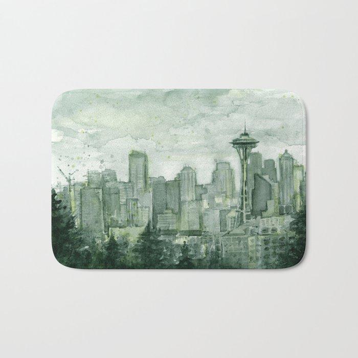 Seattle Skyline Watercolor Space Needle Emerald City 12th Man Art Bath Mat