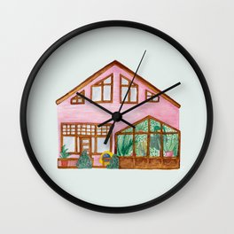 Cute little pink house with glasshouse inner garden Wall Clock