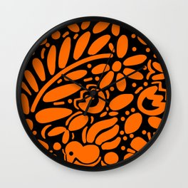 Beautiful Orange Otomi Wall Clock