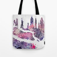 new york skyline Tote Bags featuring New York Skyline + Map by Map Map Maps