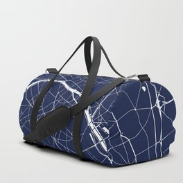 Paris France Minimal Street Map - Navy Blue and White Reverse Duffle Bag