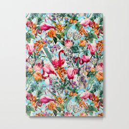 Floral and Flamingo VII pattern Metal Print
