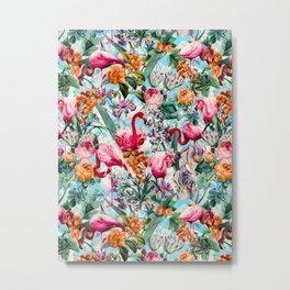 Floral and Flamingo VII pattern Metal Print