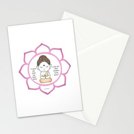 Cute little Buddha in a lotus flower Stationery Cards