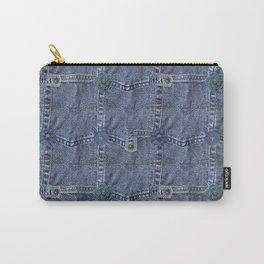 Blue Jeans Denim Pocket Patchwork Carry-All Pouch