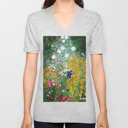 Flower Garden by Gustav Klimt vibrant Unisex V-Neck