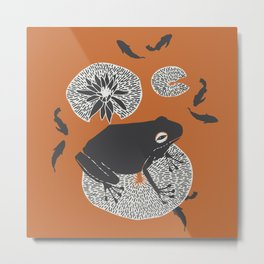 Frog on a Lily Pad Metal Print