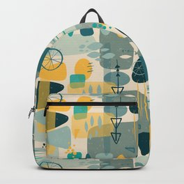 1950s Mid Century Shapes Collage Blue Yellow Backpack
