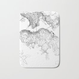 Hong Kong White Map Bath Mat