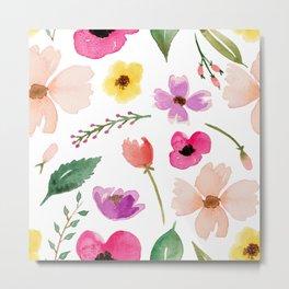 Boho Multicolor Floral Pattern Metal Print