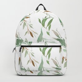 Pastel green brown watercolor hand painted leaves Backpack