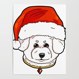 Bichon Frise Dog Christmas Hat Present Poster