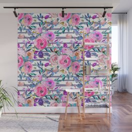Pink mauve lilac hand painted watercolor roses floral stripes Wall Mural