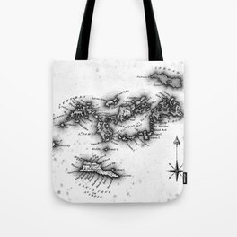 Vintage Map of The Virgin Islands (1823) BW Tote Bag
