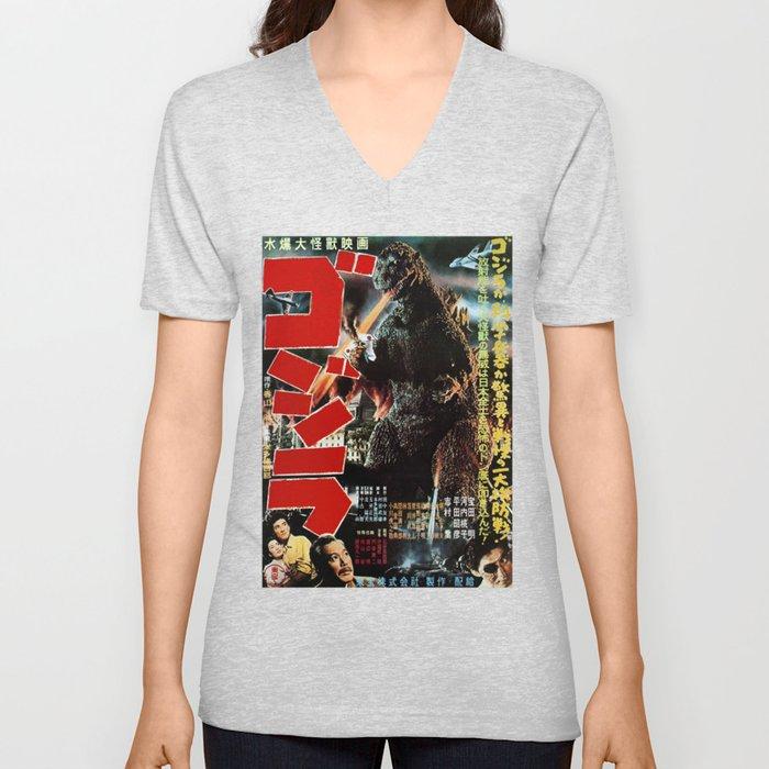 Antique Godzilla's Poster Unisex V-Ausschnitt