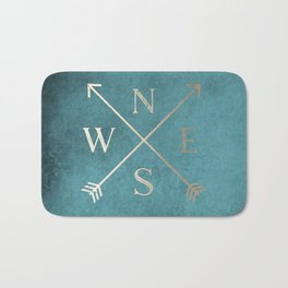 Gold on Turquoise Distressed Compass Adventure Design Bath Mat