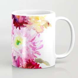 Flowers, Pink Red Yellow Floral design art Coffee Mug