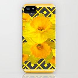 Golden Daffodils Grey Art Design iPhone Case
