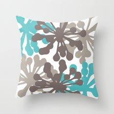 Modern Botanical Print Teal Brown Throw Pillow