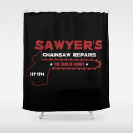 Sawyer's Chainsaw Repair Shower Curtain
