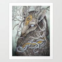 deer Art Prints featuring In Memory, as a print by Caitlin Hackett