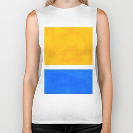 Primary Yellow Cerulean Blue Mid Century Modern Abstract Minimalist Rothko Color Field Squares Biker Tank