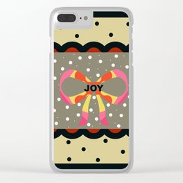Gift Wrapped up with Joy and Black Polka Dots Clear iPhone Case