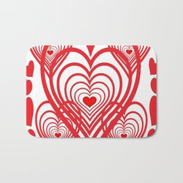 0PTICAL ART RED VALENTINES HEARTS IN HEARTS DESIGN Bath Mat