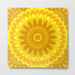 Summer Mandala Full Bloom Golden Celebration in Yellow & Gold Metal Print