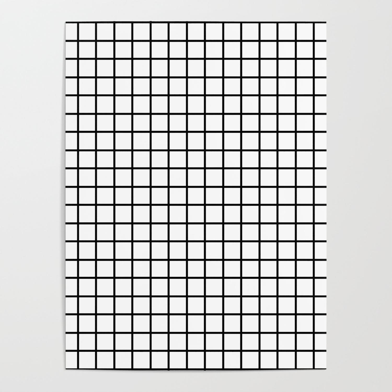 Fine Black Grid On White Background Black And White Pattern Poster By Dotsandlines99 Society6