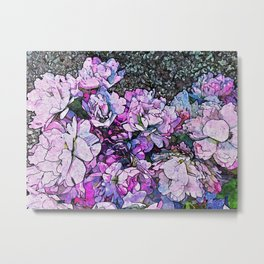 Pink Roses Flowers Bush Shabby chic Floral Metal Print