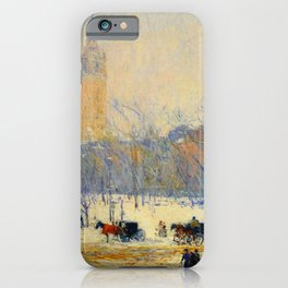 Frederick Childe Hassam - Snowstorm, Madison Square - Digital Remastered Edition iPhone Case