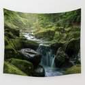 Flowing Creek, Green Mossy Rocks, Forest Nature Photography by staypositivedesign