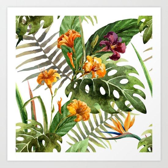 Tropical Floral Pattern 01 Art Print