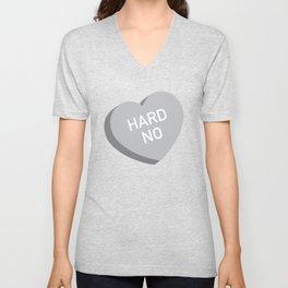 Candy Heart - Hard No (grey) Unisex V-Neck