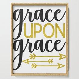 INSPIRATIONAL CHRISTIAN BIBLE VERSE design - GRACE UPON GRACE Serving Tray