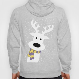 Reindeer in a snowy day (red) Hoody