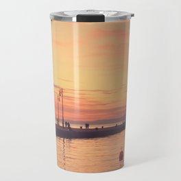 Trieste. Sunset over the Molo Audace. Travel Mug