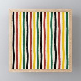 Rustic Lodge Cabana Stripes Black Red Yellow Green Framed Mini Art Print