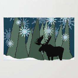 Moose in the Snowy Forest Rug
