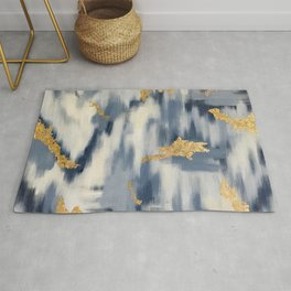 Blue and Gold Ikat Pattern Abstract Rug