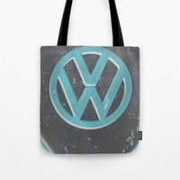 vw bus Tote Bags featuring Black Beauty VW Bus by wildVWflower