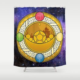 Sailor Moon Crystal stained glass window Transformation Brooch Shower Curtain