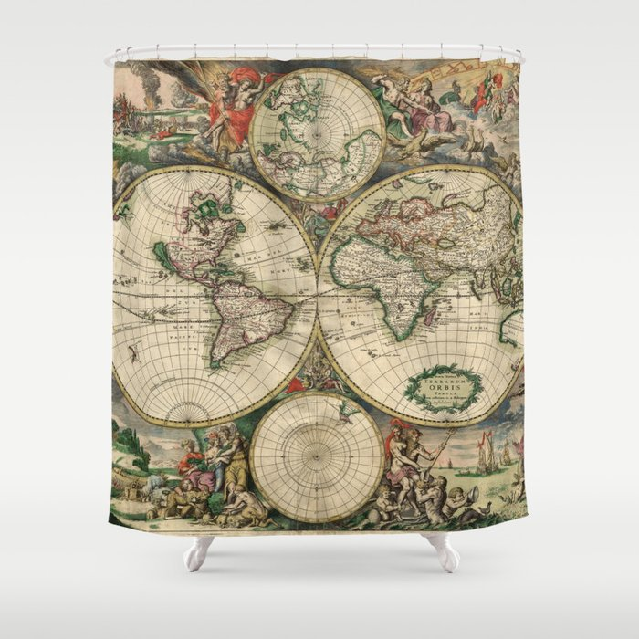 image relating to Vintage World Map Printable called Basic Planet Map print against 1689 Shower Curtain